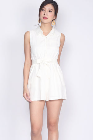 Edolie Shirt Romper In White