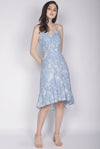 Eduwiges Sketch Floral Spag Dress In Blue