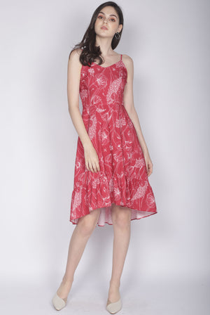 Eduwiges Sketch Floral Spag Dress In Red