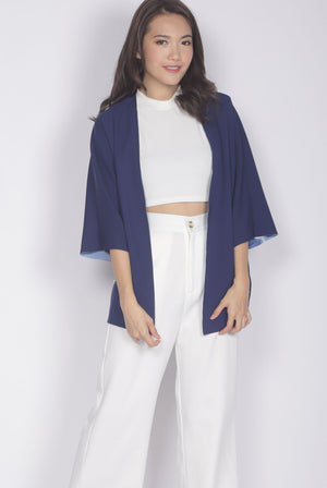 Edvige Reversible Kimono Outerwear In Blue