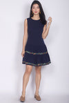 Edwina Embro Tiered Dropwaist Dress In Navy Blue