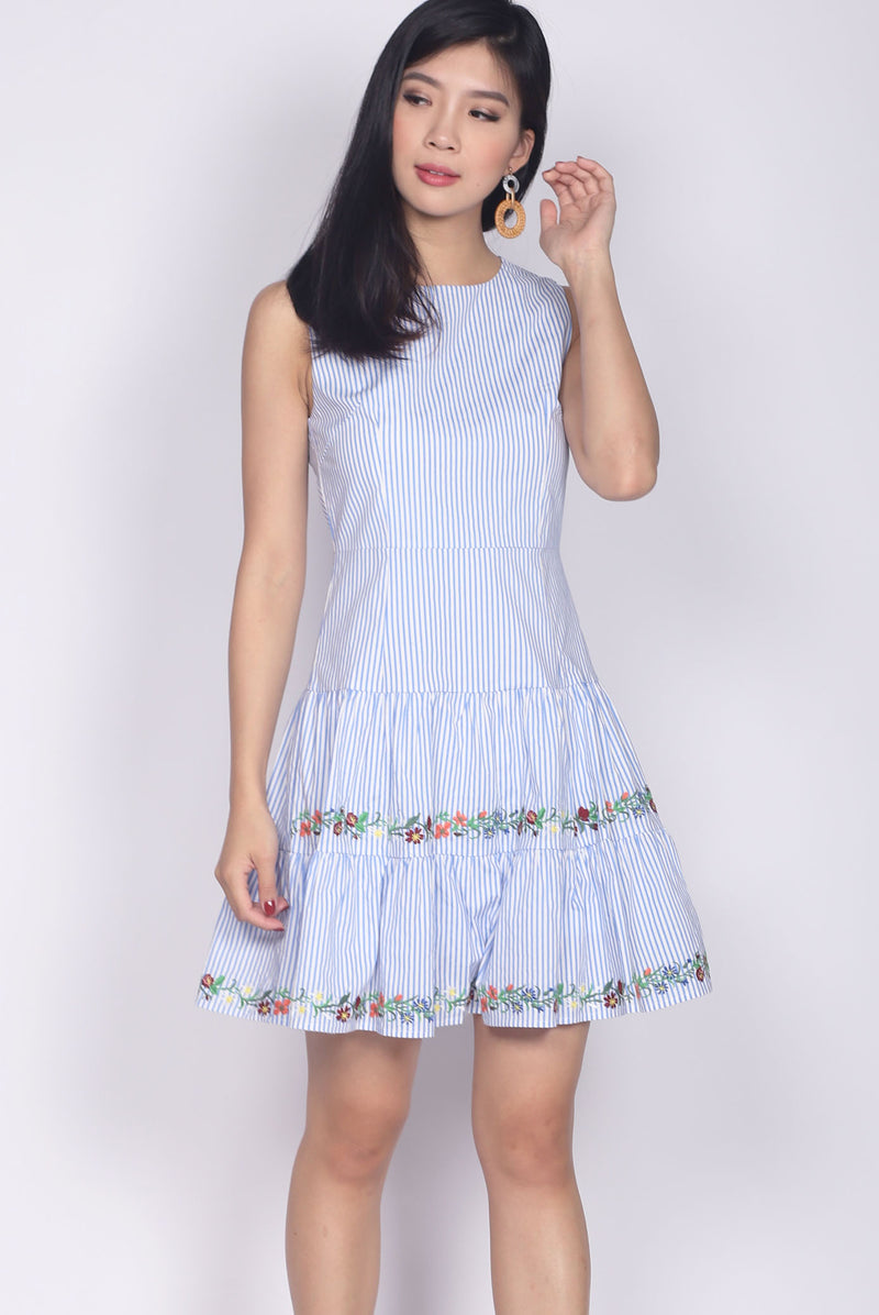 Edwina Embro Tiered Dropwaist Dress In Blue Stripes