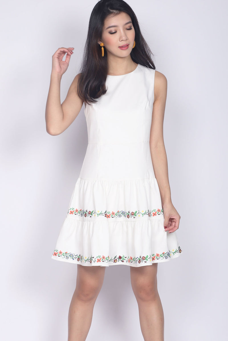 Edwina Embro Tiered Dropwaist Dress In White