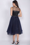 *Premium* Egeria Tulle Midi Dress In Navy Blue