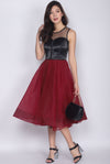 *Premium* Egeria Tulle Midi Dress In Wine Red