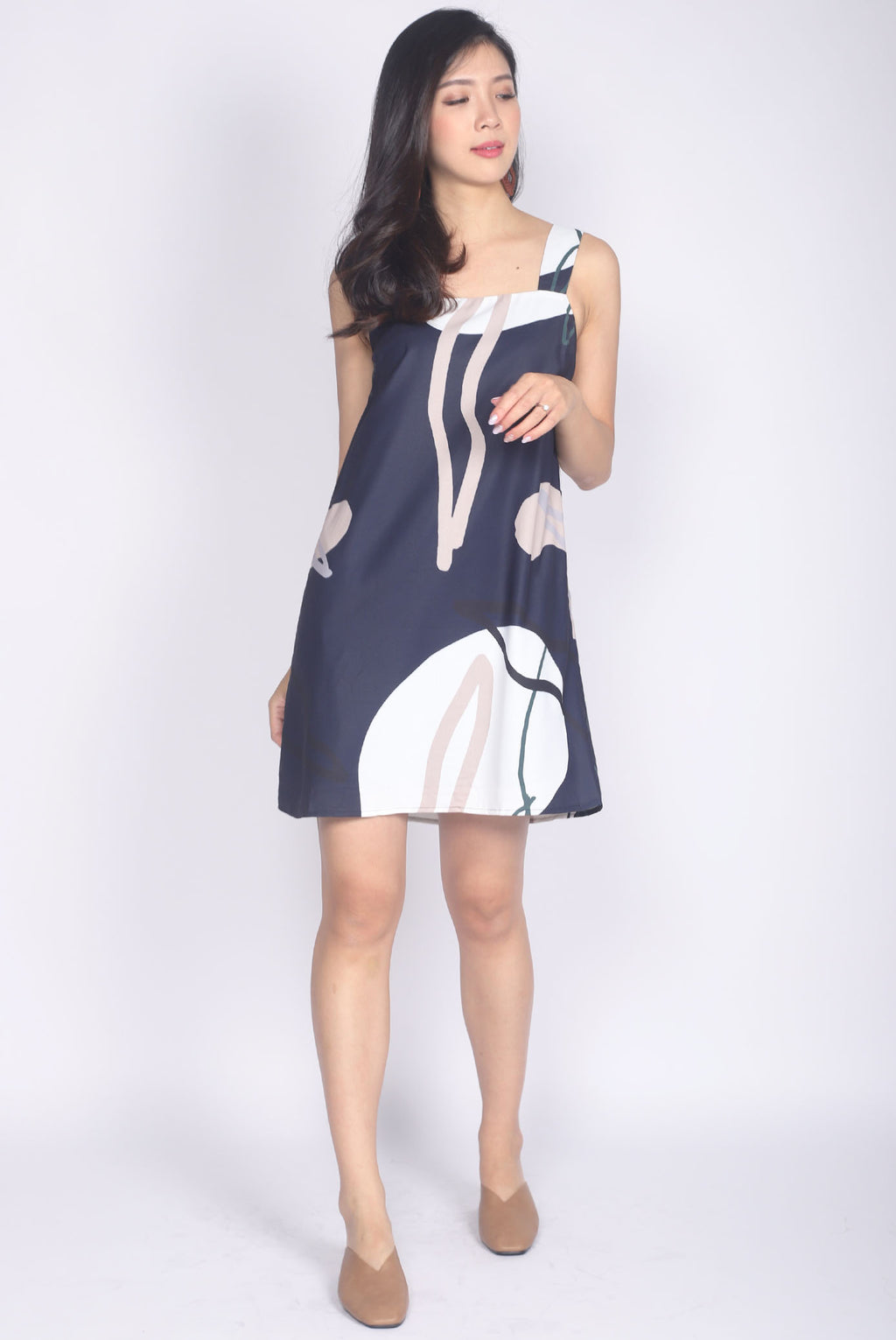 Eiliana Fern Abstract Square Neck Dress In Navy Blue