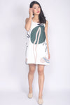 Eiliana Fern Abstract Square Neck Dress In White