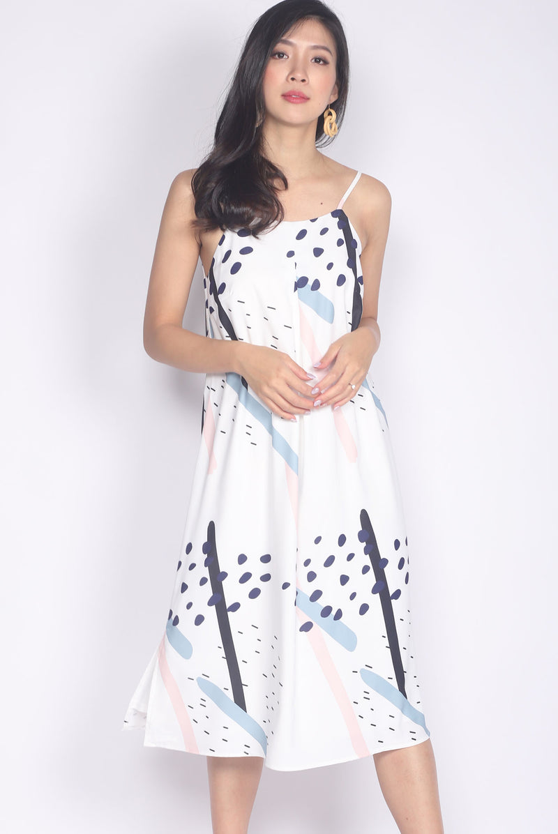 Eiluned Abstract Dots Spag Dress In White