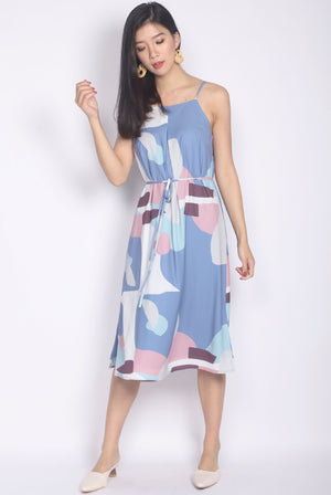 Eiluned Abstract Spag Dress In Blue