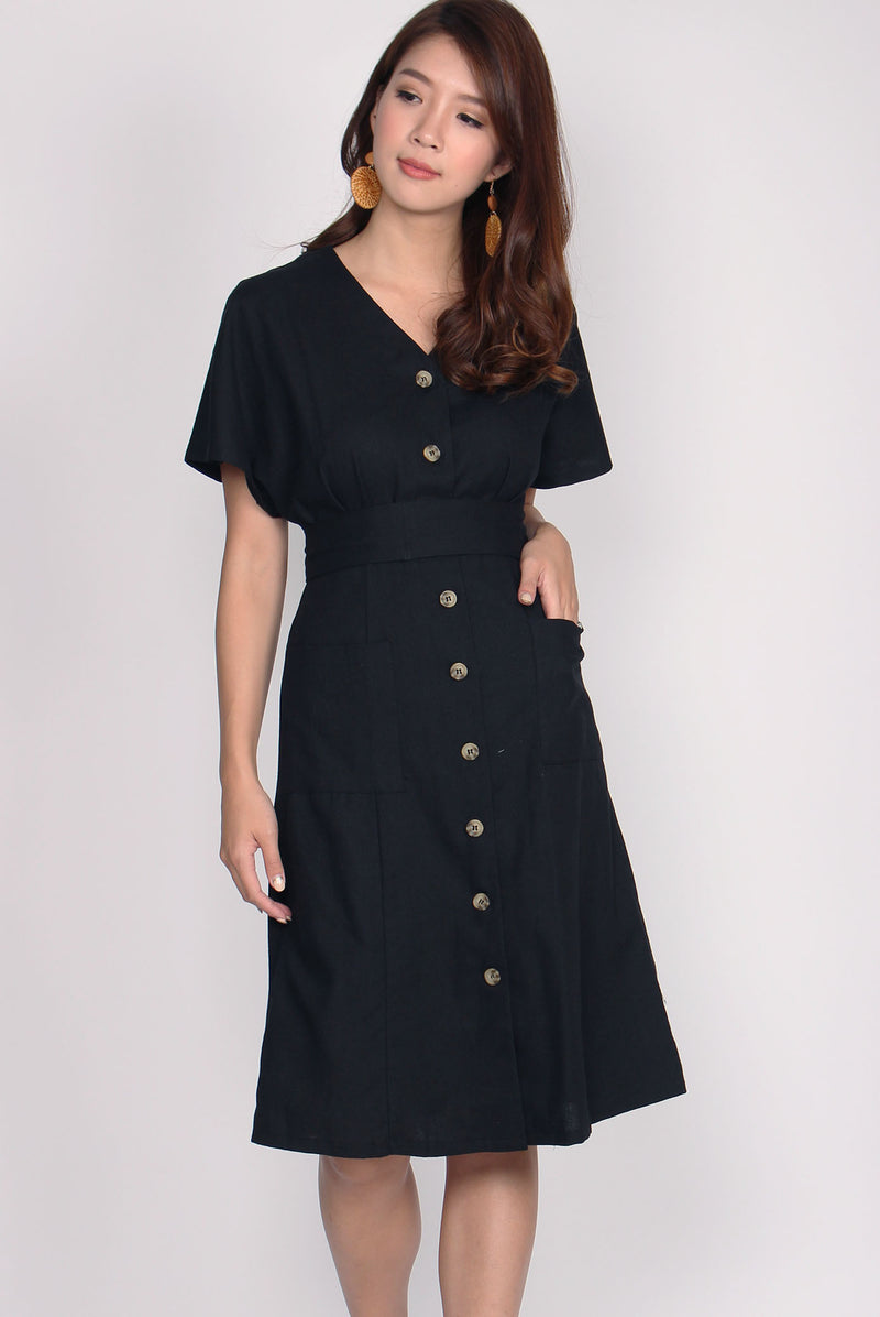 Eirin Linen Batwing Sleeve Dress In Black