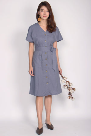 Eirin Linen Batwing Sleeve Dress In Lavender