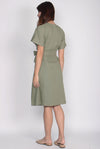 Eirin Linen Batwing Sleeve Dress In Olive