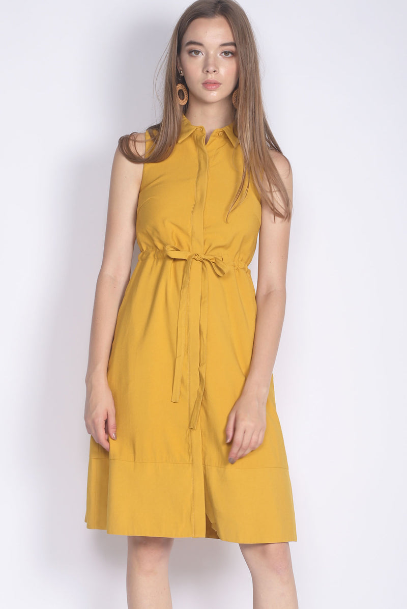 Eirlys Drawstring Shirt Dress In Mustard