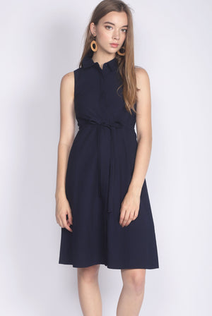 Eirlys Drawstring Shirt Dress In Navy Blue