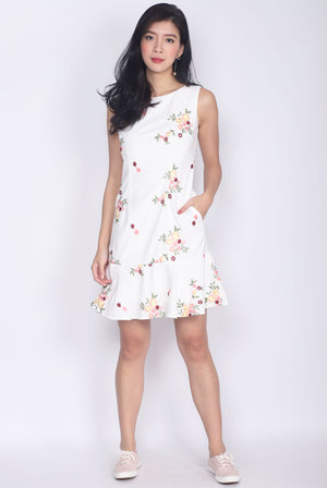 Eletha Floral Embro Drop Waist Dress In White