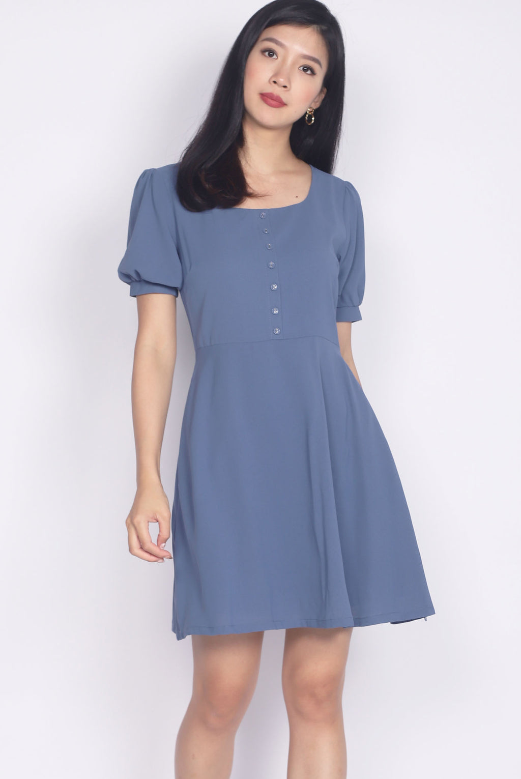 Elettra Buttons Cuff Sleeve Dress In Blue