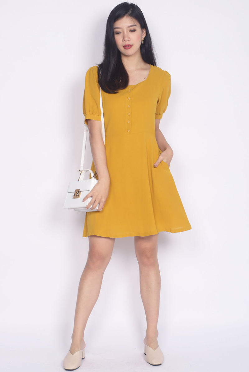 Elettra Buttons Cuff Sleeve Dress In Mustard