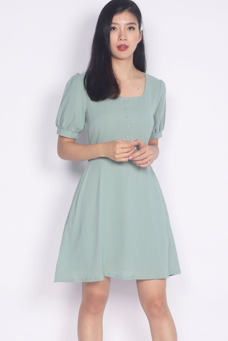 Elettra Buttons Cuff Sleeve Dress In Saga