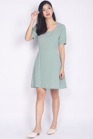 Elettra Buttons Cuff Sleeve Dress In Sage