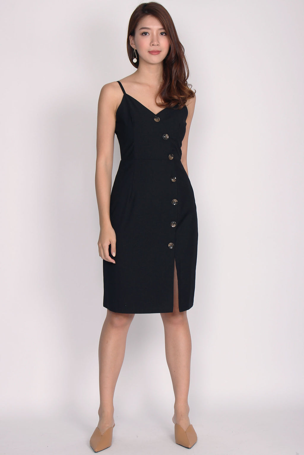 Eliette Wave Down Buttons Spag Dress In Black