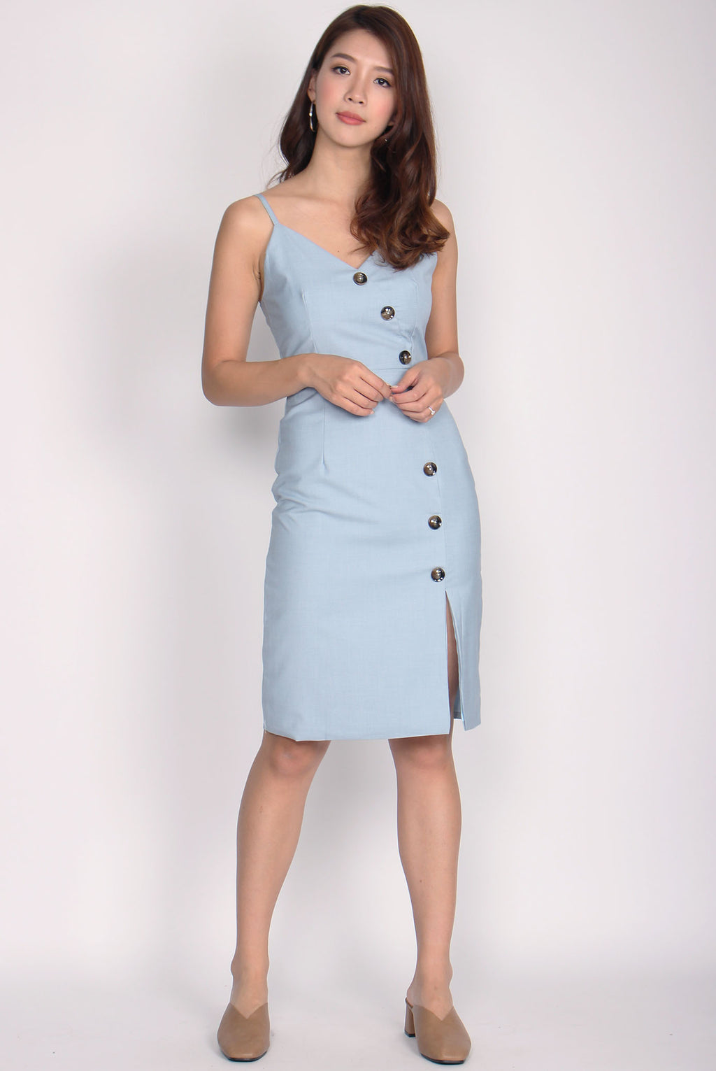 Eliette Wave Down Buttons Spag Dress In Blue