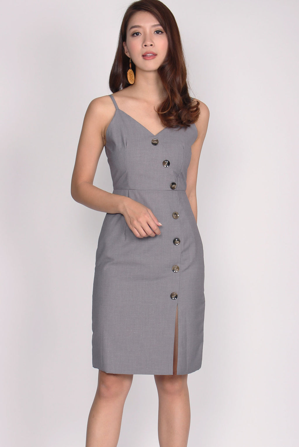Eliette Wave Down Buttons Spag Dress In Grey