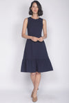 Eliotte Buttons Removable Oriental Collar Dress In Navy Blue