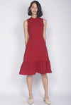 Eliotte Buttons Removable Oriental Collar Dress In Wine Red