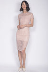 *Premium* Elisavet Lace Slit Dress In Blush
