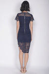 *Premium* Elisavet Lace Slit Dress In Navy Blue