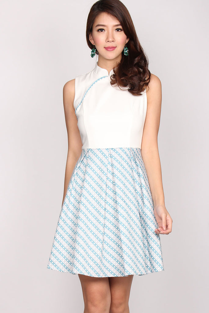 Elisha Colour Block Cheongsam Dress In White Stripes