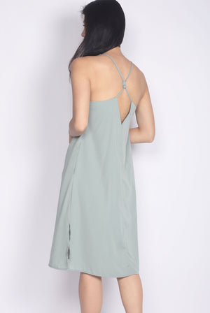 Elladora Diamond Back Slip Dress In Jade