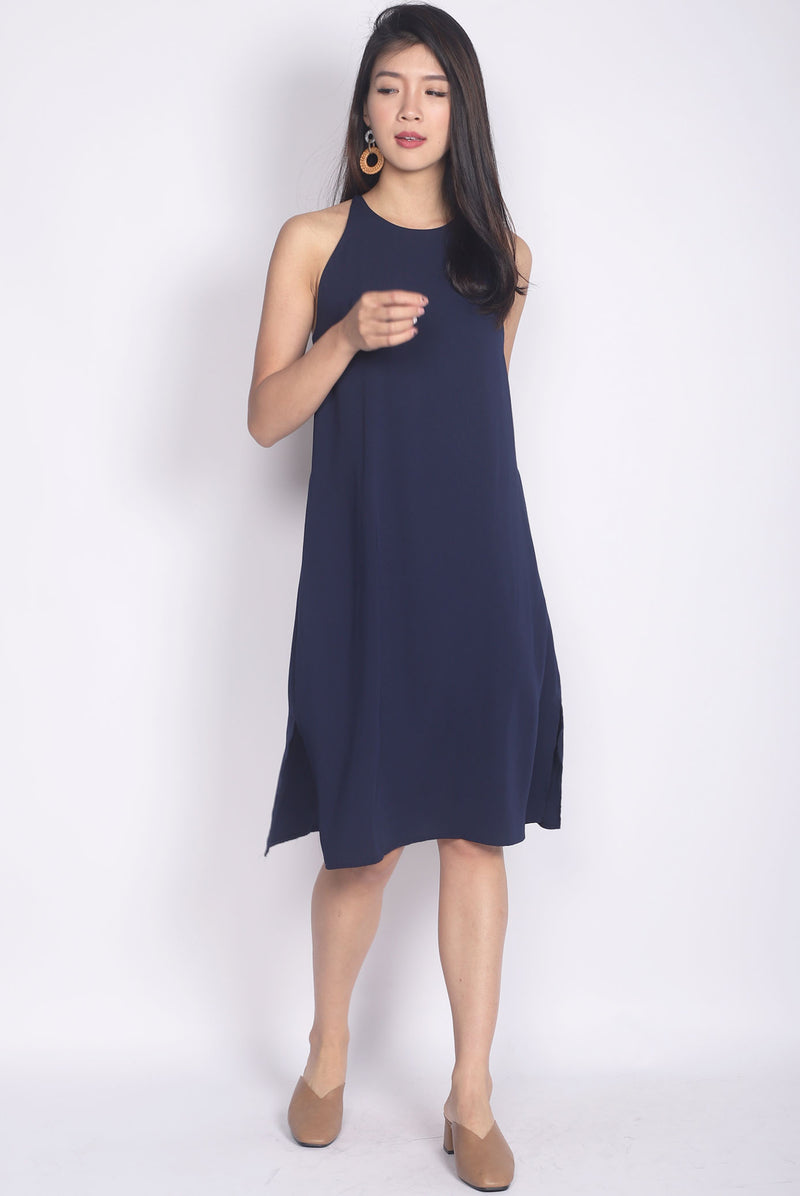 Elladora Diamond Back Slip Dress In Navy Blue