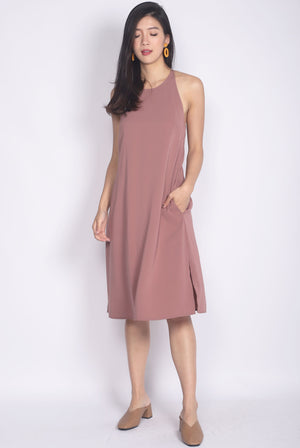 Elladora Diamond Back Slip Dress In Dusty Pink
