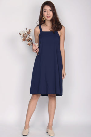 Ellenor Square Neckline Trapeze Dress In Navy Blue