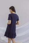 Elsy Sleeved Drop Hem Dress In Navy Blue