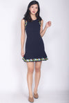 Elvie Embroidery Drop Waist Dress In Navy Blue