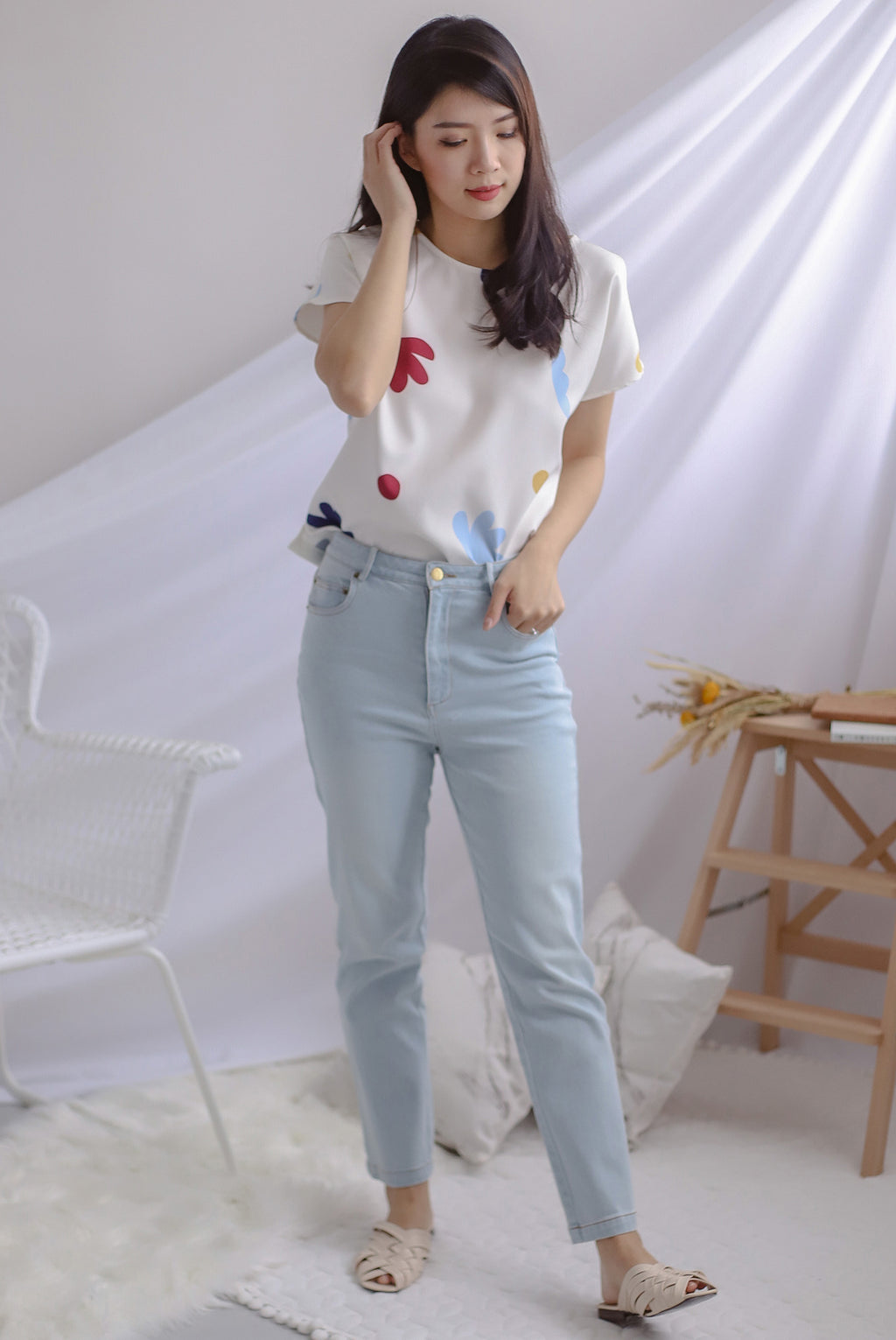 Emi High Waist Denim Pants In Light Wash