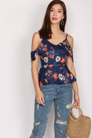 Emiliana Cold Shoulder Peplum Top In Navy Blue