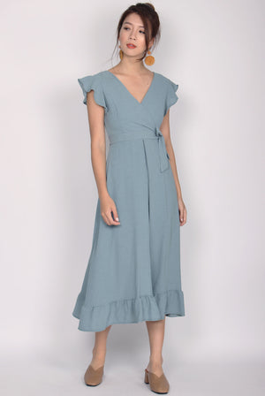 Enchanted Frill Maxi Dress In Jade Blue