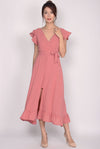 Enchanted Frill Maxi Dress In Pink