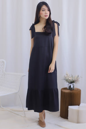 Erika Tie Shoulder Maxi Dress In Black