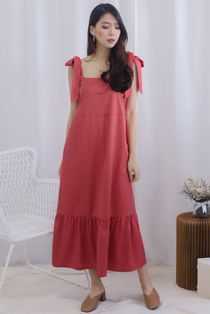 Erika Tie Shoulder Maxi Dress In Faded Rose