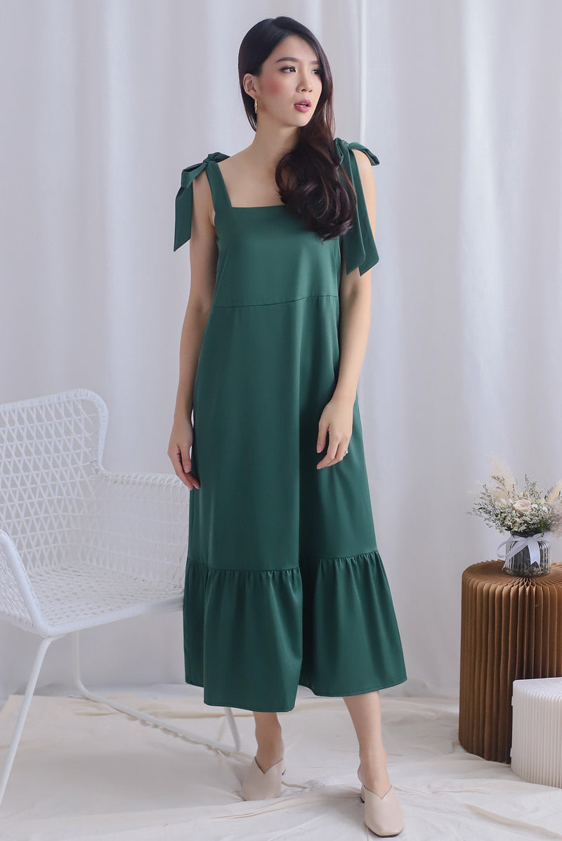 Erika Tie Shoulder Maxi Dress In Forest Green