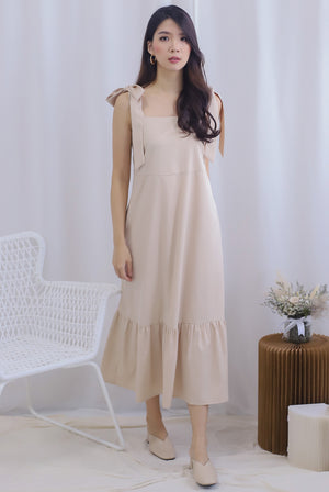 Erika Tie Shoulder Maxi Dress In Oats