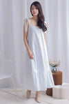 Erika Tie Shoulder Maxi Dress In White