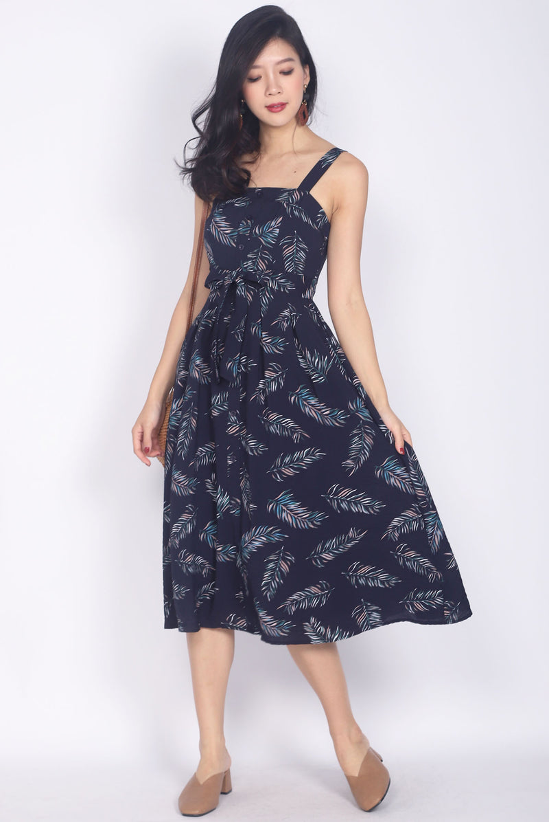 Esiree Leafy Sundress In Navy Blue