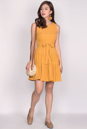 Estrella Tier Fit Flare Dress In Mustard