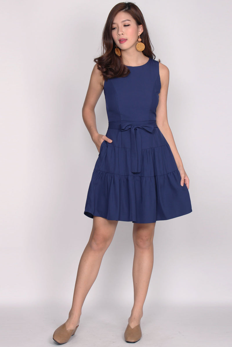 Estrella Tier Fit Flare Dress In Navy Blue