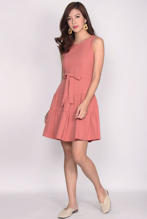 Estrella Tier Fit Flare Dress In Tea Rose